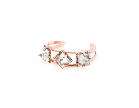Unearthen Triarch Cuff in Rose Gold with Quartz Pyramids