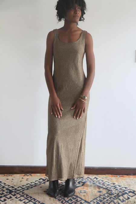 The Shudio Vintage Gold Mesh Column Dress