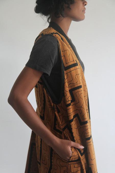 The Shudio Vintage Orange Oversized Patterned Vest