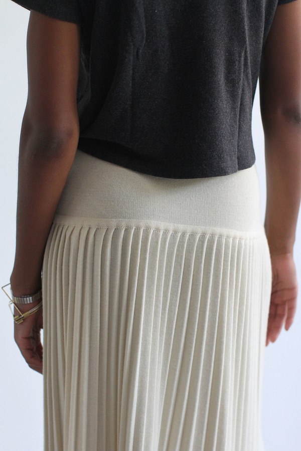 SomeLikeUs Vintage Cream Dropwaist Knife Pleated Skirt