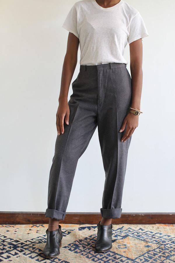 RAWSON Vintage Grey Wool High Waist Pleated Trousers