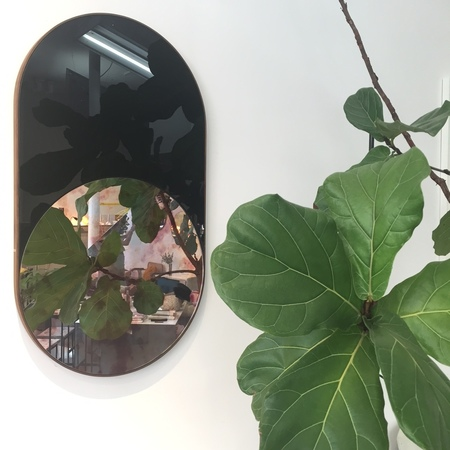 BOWER Cylinder Mirror with Antique Pink Inlay