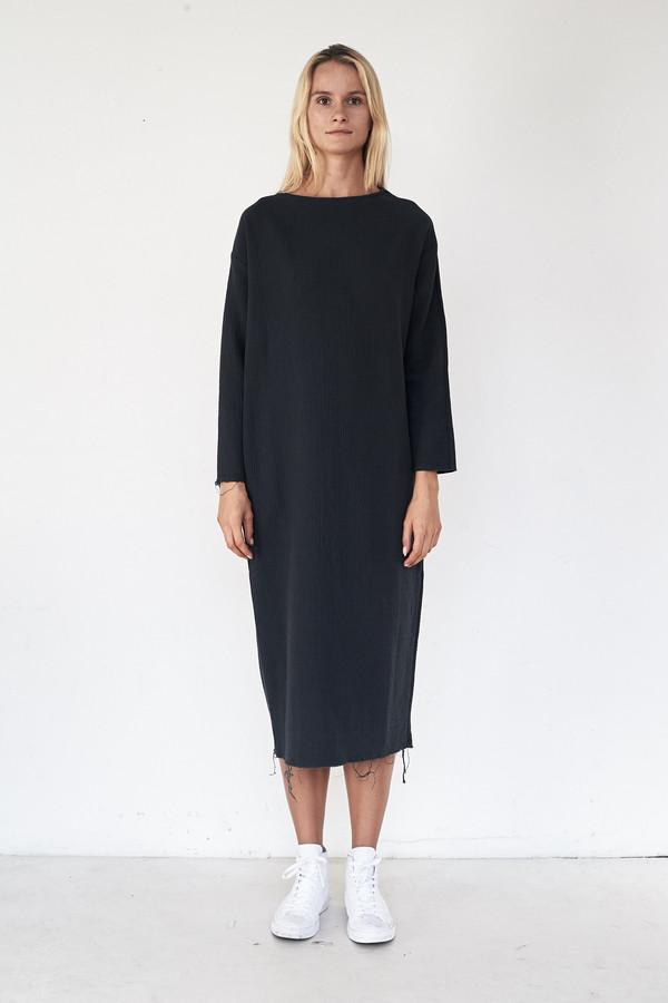 Black Crane Cotton Quilted Long Dress