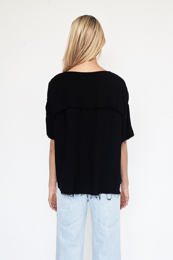 Black Crane Rayon Square Top