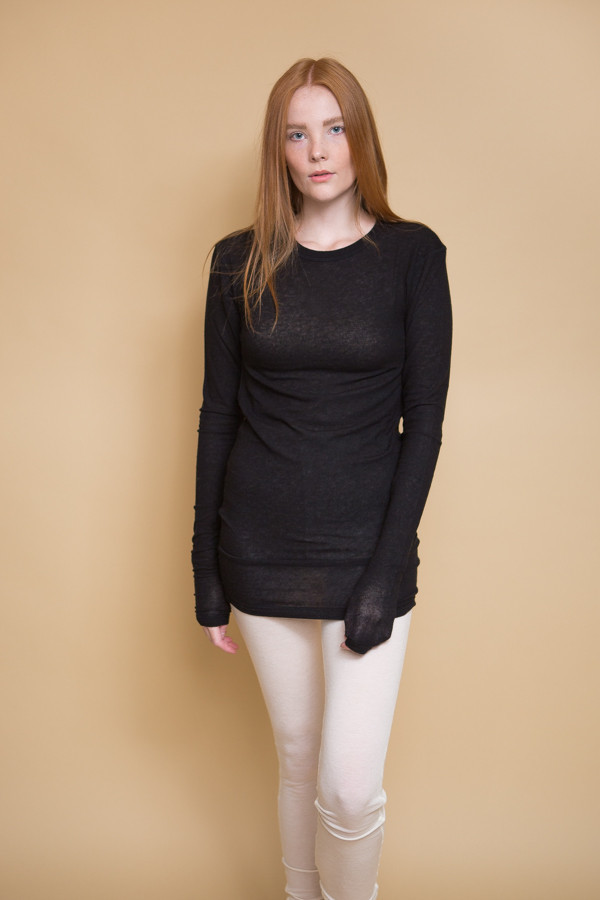 Skinny Long Sleeve T-Shirt / Caviar