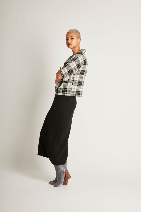H. Fredriksson Crop Top in Black/White Plaid Wool