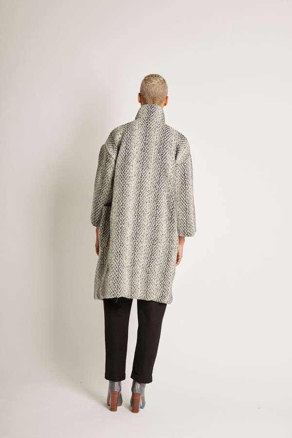 H. Fredriksson Kate Coat in Grey Tweed Wool