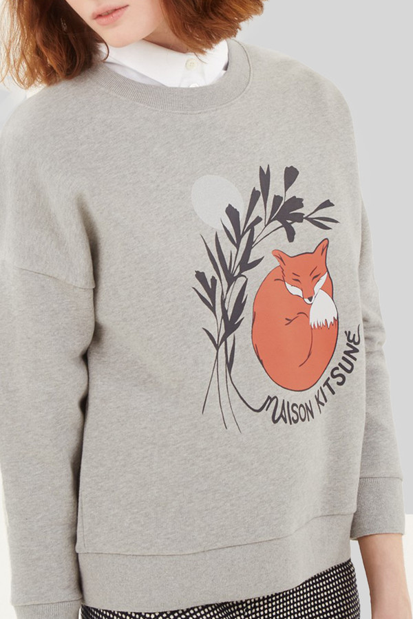 Kitsune Sweat Shirt Dan Ah Kim Asleep I Grey Melange