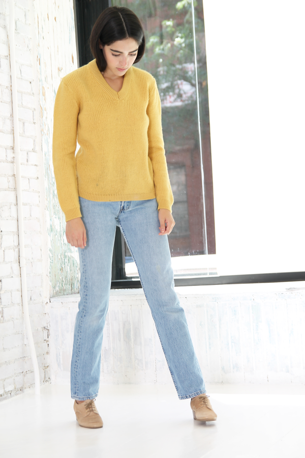 DUO NYC Vintage Knit V Neck Pullover