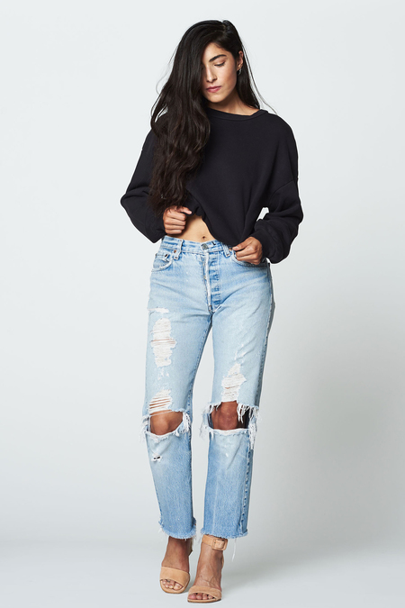 LACAUSA Cropped Pullover Top- Tar
