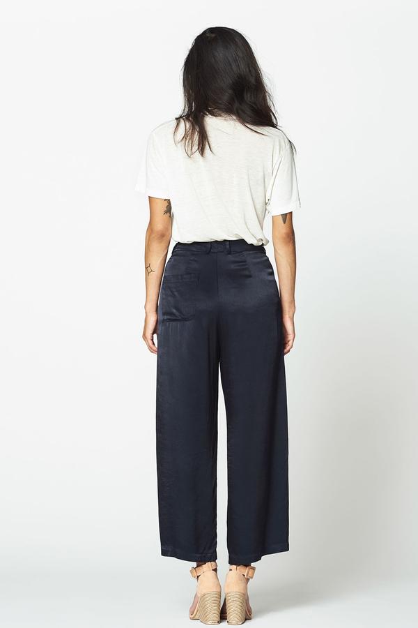 LACAUSA Satin Flora Pants- Velvet