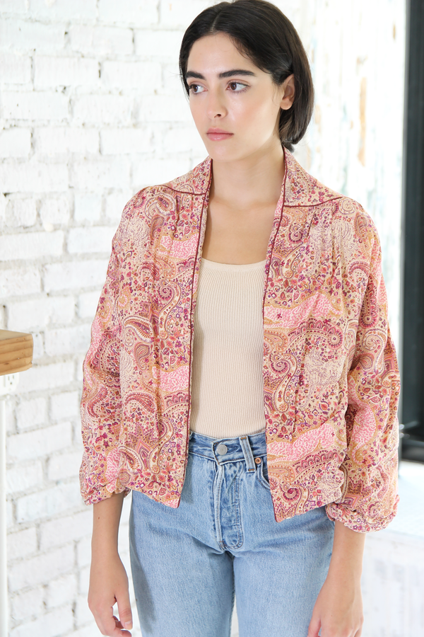 DUO NYC Vintage Silk Cropped Jacket