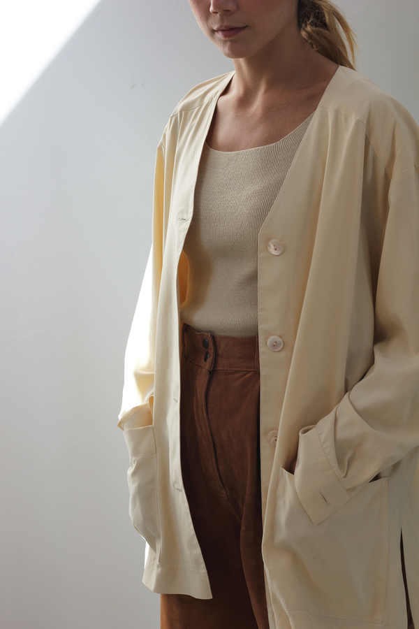 Hey Jude Cornmeal Silk Cardigan