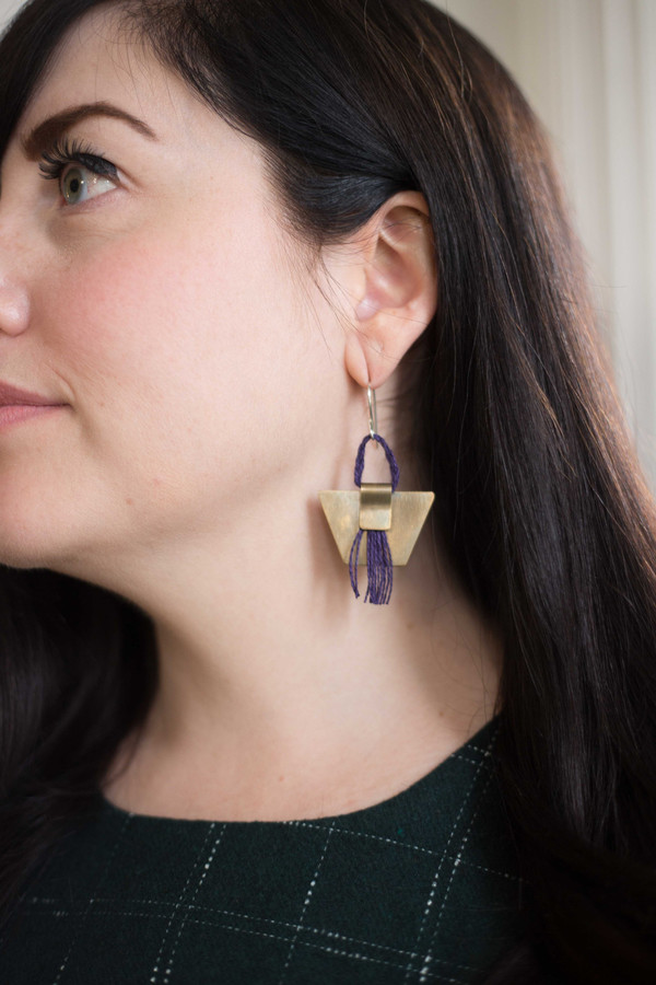 Layers of Earth Running Bear Earrings