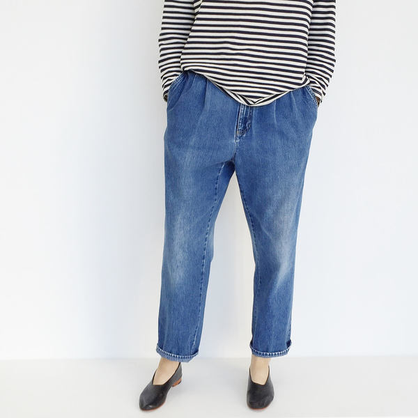 Johan Vintage Pleated Denim Pant