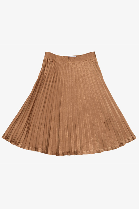 AMONG SEOUL Metallic Fan Skirt- Mustard
