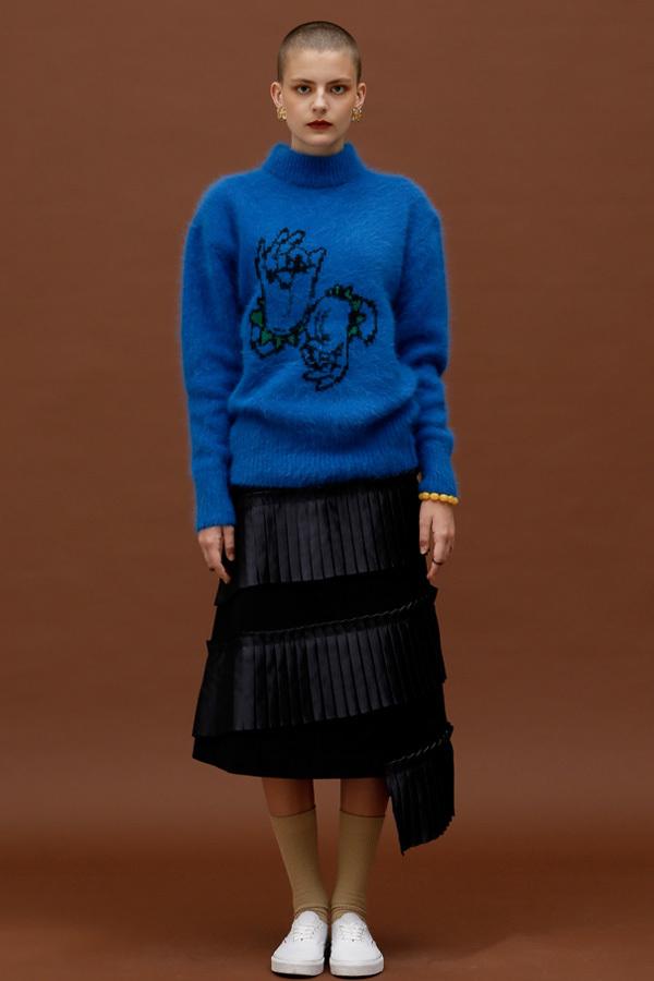 ROCKET LUNCH Nirvana Hands Oversized Knit- Blue