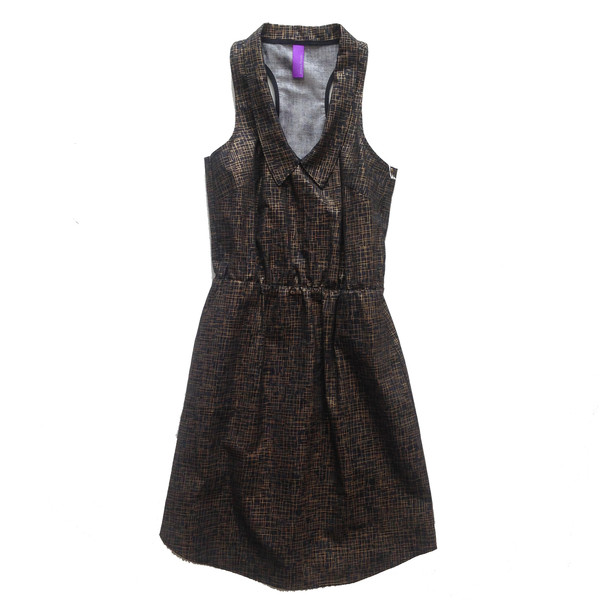 Josiane Perron R01PE15 Hatched Black Dress