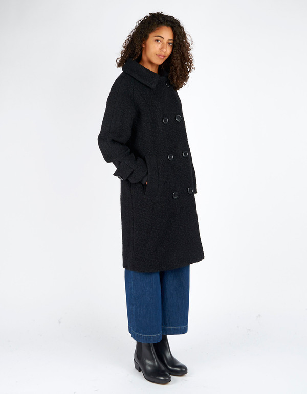 Ganni Fenn Double Breasted Coat Black