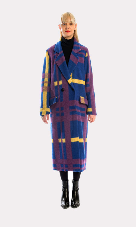 Kurt Lyle Veronique Double Breasted Coat in Oslo Plaid
