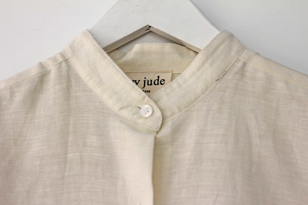 Hey Jude Vintage Linen Mandarin Collar Top