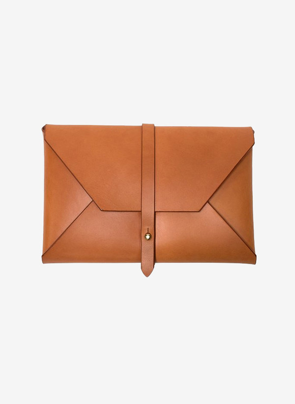Woodlark Tan Envelope Clutch
