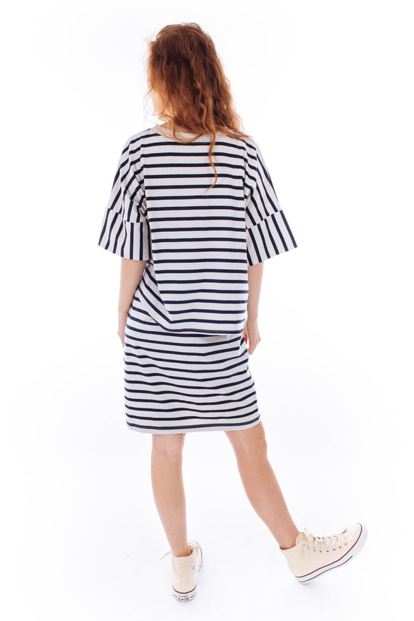 Kowtow Building Block Layered Tee Dress (Navy Natural Stripe)