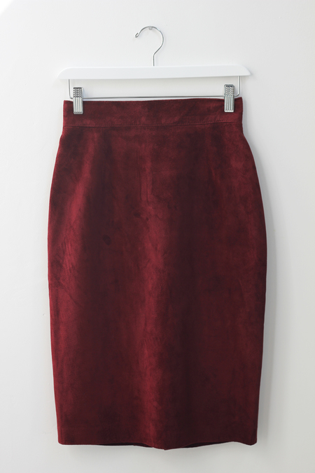 Hey Jude Oxblood Suede Skirt