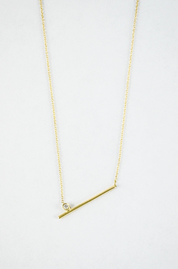 Still House 14K Gold White Diamond Livi Necklace