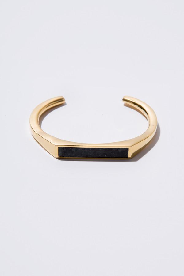 Edge of Ember Angled Cuff - Gold & Black Jade