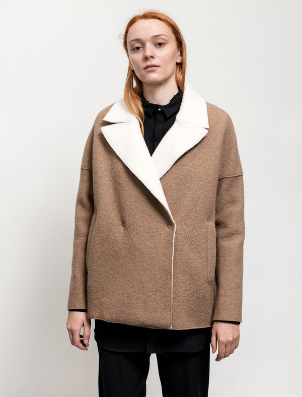 Harris Wharf Womens Shearling Collar Jacket Boiled Wool Camel