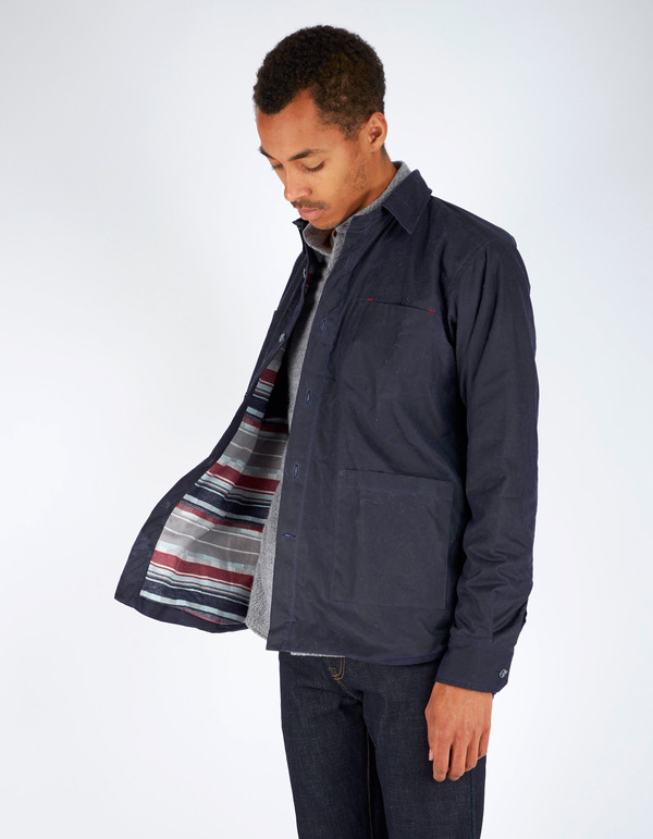 Men's 18 Waits Ramblin' Weekender Jacket Navy Waxed Cotton