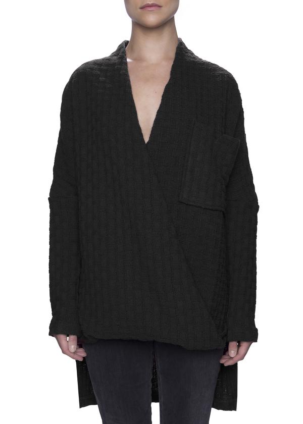 Vincetta Black Wrap Front Sweater