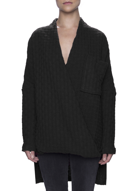 Vincetta Black Wrap Front Sweater
