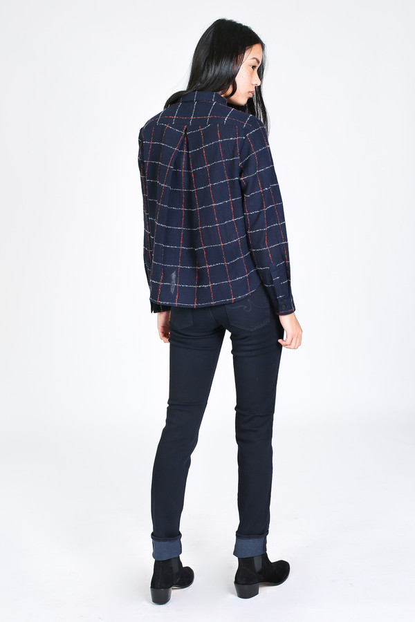 Steven Alan Composition shirt in navy/red plaid