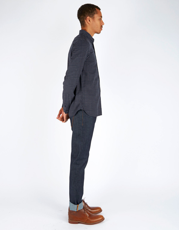 Men's Fred Perry Distorted Gingham Twill Shirt Graphite Marl