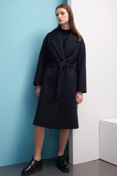LOOKAST Oversized Wool Robe Coat- Navy