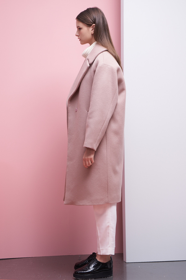 LOOKAST Oversized Long Wool Coat- Baby Pink