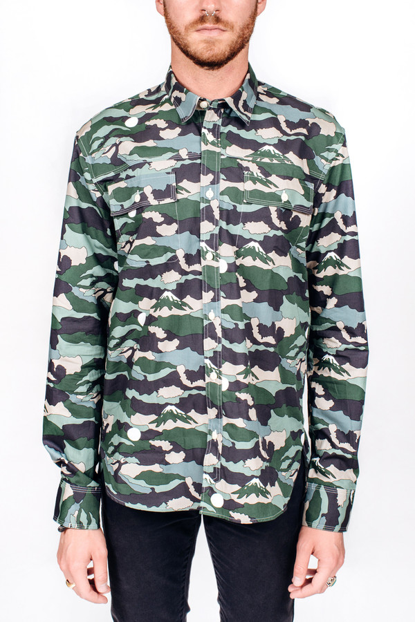 Men's Maison Kitsune Landscape Military Shirt