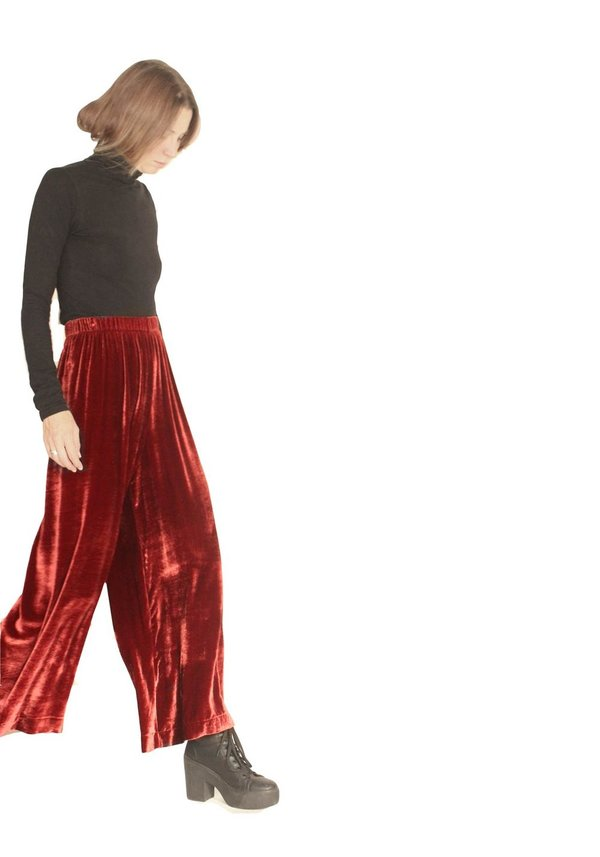 Strathcona Red Silk Velvet Culotte