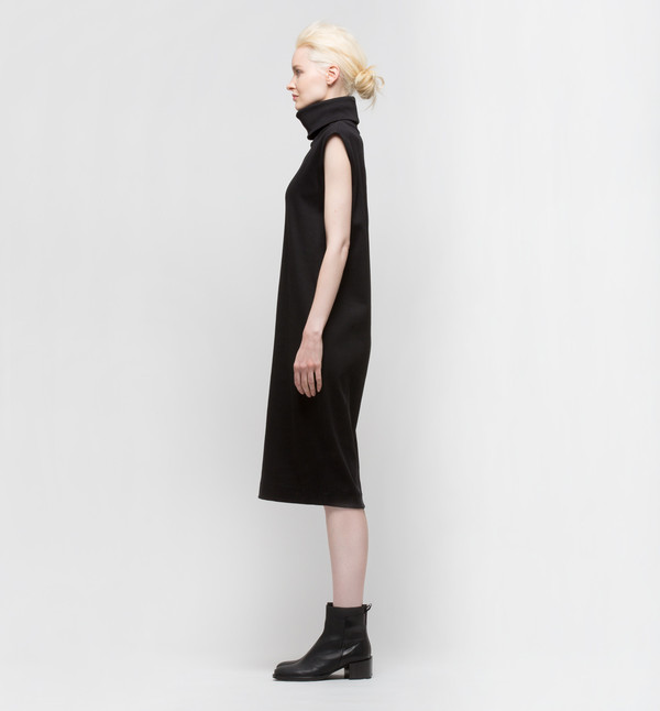 Kowtow Building Block Rib Roll Neck Dress Black