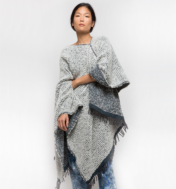Lemlem Teddy Reversible Wrap Poncho Cloud