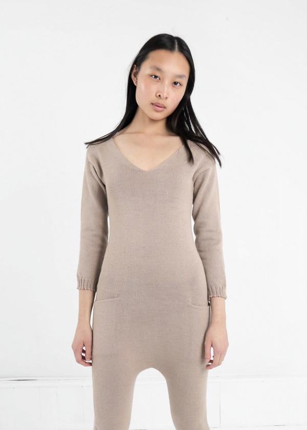 Été Noir Tan Knit Jumpsuit