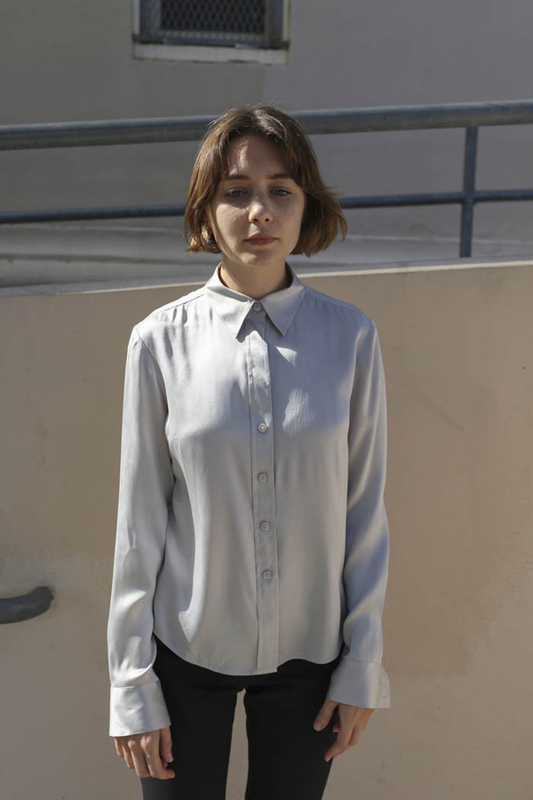 NONNA Vintage I.N.C. Silver Stretch Silk Blouse