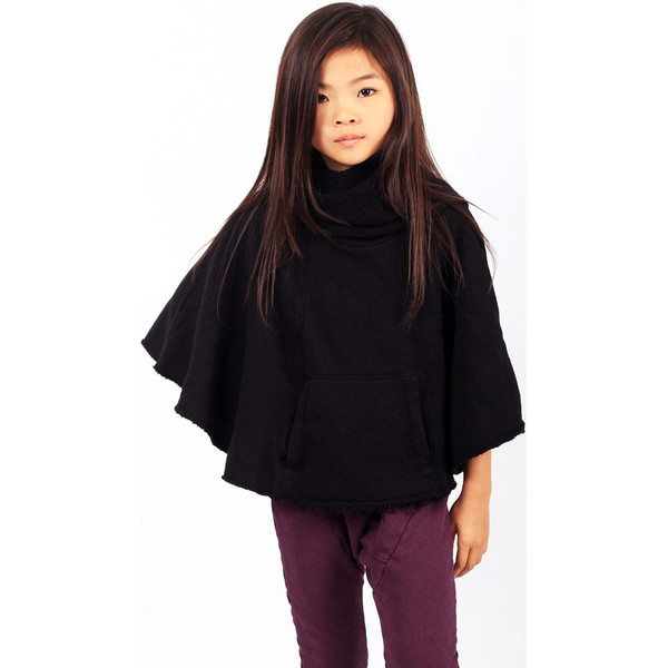 Kid's Mimobee Musketeer Funnel Neck Poncho - Black