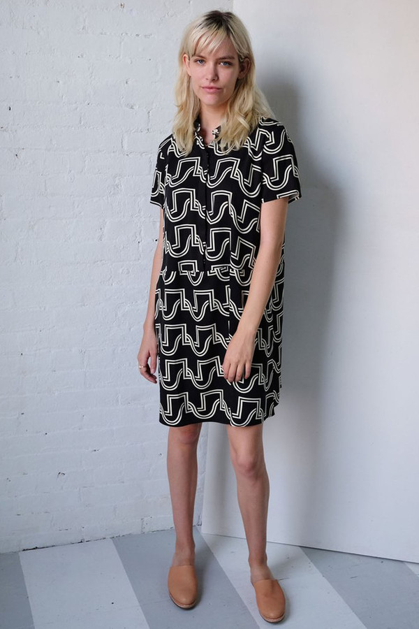 Dusen Dusen Oversize Tee Dress Black Duo Weave