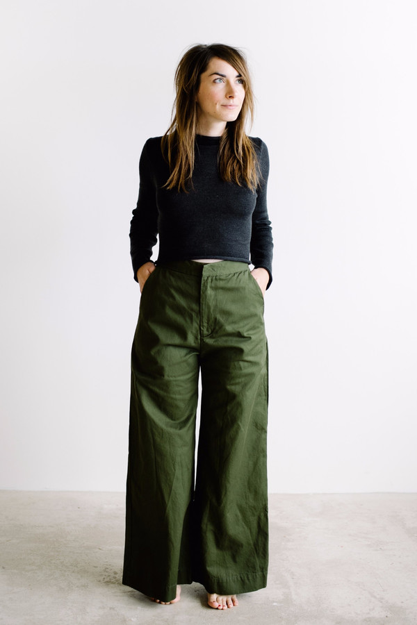 Esby Apparel Alex Wide Leg Pant // Olive