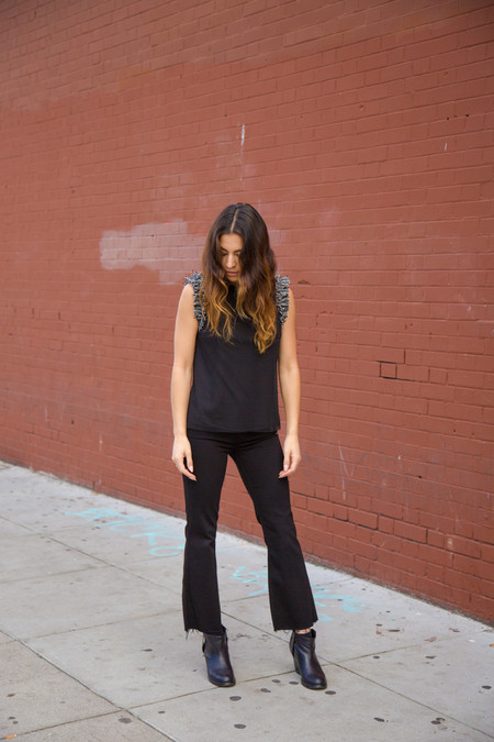 Grlfrnd Joan Crop Flare Jean in Black Magic Woman