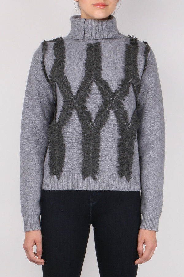 Jonathan Simkhai Shredded Argyle Turtleneck