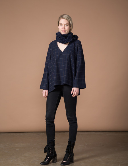 SBJ Austin Pamela Top - Navy Woven Window